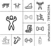gym icons. set of 13 editable... | Shutterstock .eps vector #789362596