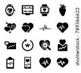 heartbeat icons. set of 16... | Shutterstock .eps vector #789366622