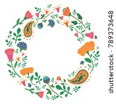 hand drawn round frame with... | Shutterstock .eps vector #789373648