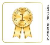 award ribbon gold icon. blank... | Shutterstock .eps vector #789381388