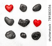red heart and black stones.... | Shutterstock . vector #789383356