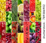 fruits and vegetables collage | Shutterstock . vector #789386902