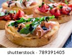 brushetta or authentic...   Shutterstock . vector #789391405