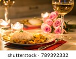 prawn with rice and white wine | Shutterstock . vector #789392332