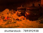 ceramic pots with food in the... | Shutterstock . vector #789392938
