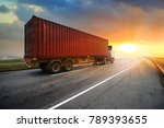 truck run on road ... | Shutterstock . vector #789393655