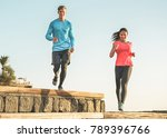 athletic couple of friends... | Shutterstock . vector #789396766