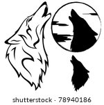 howling wolf vector...