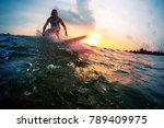 surfer trying to catch the... | Shutterstock . vector #789409975