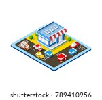 isometric colorful 3d shop | Shutterstock .eps vector #789410956