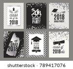 graduation class of 2018 silver ... | Shutterstock .eps vector #789417076