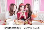 women feel bad and use phone in ... | Shutterstock . vector #789417616