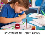small students painting in art... | Shutterstock . vector #789418408