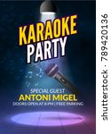 karaoke party invitation poster ... | Shutterstock .eps vector #789420136