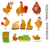 chicken vector cartoon chick... | Shutterstock .eps vector #789423052