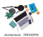 vector desk flat lay... | Shutterstock .eps vector #789430996