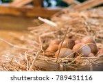 Chicken Eggs In The Farm  Put...