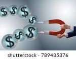 businessman catching dollars on ... | Shutterstock . vector #789435376