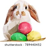 low poly easter bunny | Shutterstock .eps vector #789440452