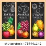 fresh fruits sketch banners of... | Shutterstock .eps vector #789441142