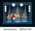 band at concert. rock singers... | Shutterstock .eps vector #789461335
