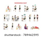 woman working day. sleeping and ... | Shutterstock .eps vector #789462595