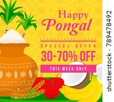happy pongal sale vector... | Shutterstock .eps vector #789478492