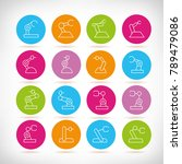 robotic arm icons in colorful... | Shutterstock .eps vector #789479086