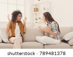 two female friends sitting on... | Shutterstock . vector #789481378