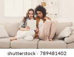 two shocked female friends... | Shutterstock . vector #789481402