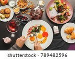 eating restaurant delicious...   Shutterstock . vector #789482596