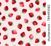 pattern of the strawberry  | Shutterstock .eps vector #789493582