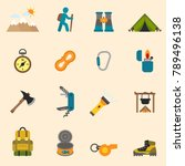 outdoors tourism camping set... | Shutterstock .eps vector #789496138