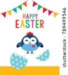cute chicken happy easter day... | Shutterstock .eps vector #789499546