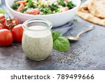 chia seed healthy ranch salad... | Shutterstock . vector #789499666