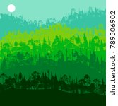 vector landscape with pine and