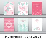set of valentine's day card on... | Shutterstock .eps vector #789513685