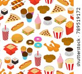 fast food seamless pattern... | Shutterstock .eps vector #789519172