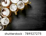 glasses with beer. on the black ... | Shutterstock . vector #789527275