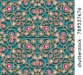 vintage gold embroidery... | Shutterstock .eps vector #789537676