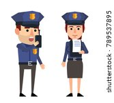 cheerful police officers.... | Shutterstock .eps vector #789537895
