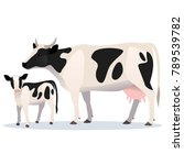 Cow And Calf. Vector Isolated...