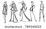 stylish fashion models. pretty... | Shutterstock .eps vector #789540025