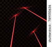 set of red laser beams. red... | Shutterstock .eps vector #789550636