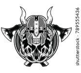 skull barbarian axe tattoo... | Shutterstock .eps vector #789555436