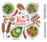 cute set of thai cuisine. tom... | Shutterstock .eps vector #789558265