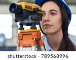 portrait of female geodesist... | Shutterstock . vector #789568996