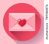 envelope with heart pink red... | Shutterstock .eps vector #789580876