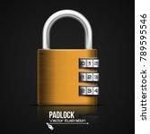 metallic padlock. steel closed... | Shutterstock .eps vector #789595546