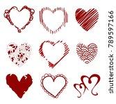 vector hearts. set for wedding... | Shutterstock .eps vector #789597166